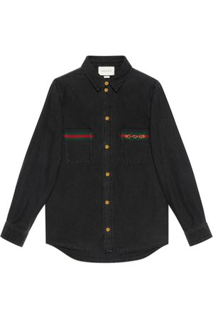 Gucci Eco washed organic denim shirt with Web