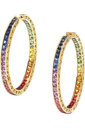 Dolce & Gabbana öronringar i 18K gult med diamant och safir
