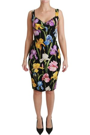 Dolce & Gabbana Iris Print Silk Stretch Bodycon Dress