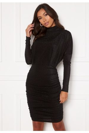 Ax Paris High Neck Rough Sparkle Dress Black M (UK12)