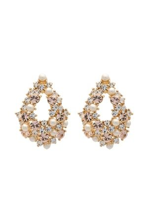 LILY AND ROSE Alice Pearl Earrings Ivory Silk/Gold One size