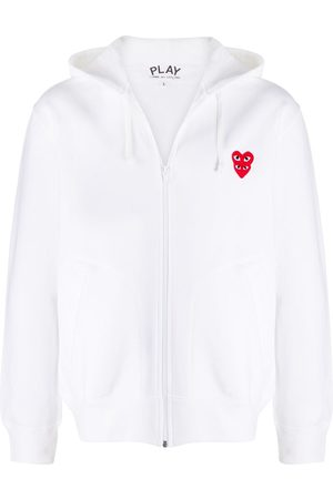Comme des Garçons Embroidered heart zip-front hoodie