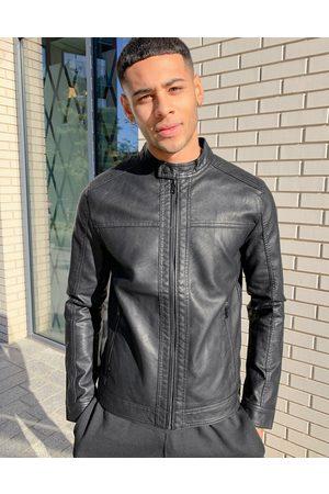 Jack & Jones – Essentials – bikerjacka i läderimitation