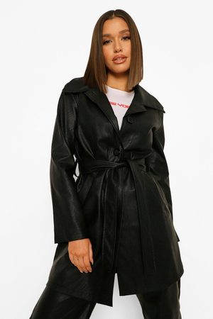 Boohoo Belted Faux Leather Jacket, Black