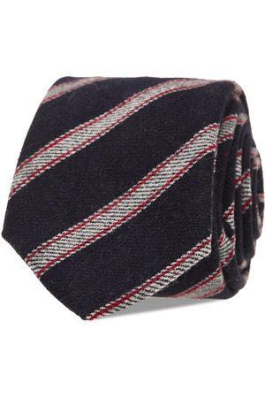 AN IVY Man Slipsar - Navy Grey Striped Wool Tie Slips