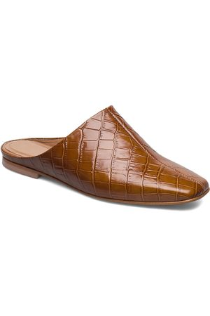 Flattered Noa Cognac Croco Leather Mules Slip-ins