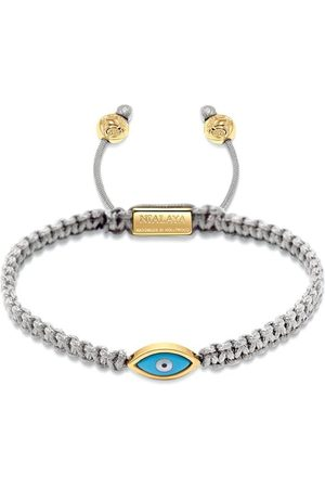 Nialaya Men's Grey String Bracelet with Gold Evil Eye