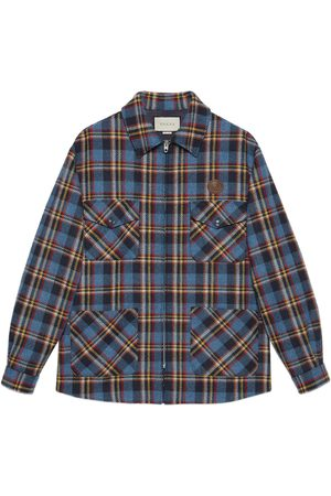 Gucci Check wool shirt with tiger patch