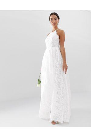 ASOS – Amalie –Lång brudklänning i spets med halterneck