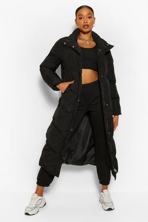 Boohoo Maxi Quilted Funnel Neck Puffer, Black