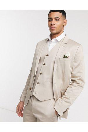 ASOS Wedding – Stenfärgad bomullskostym i supersmal passform-Sandfärgad