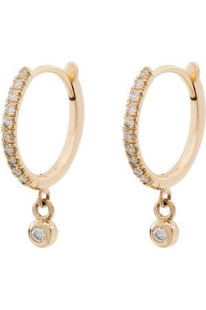 Zoe Chicco 14kt yellow gold diamond drop hoops