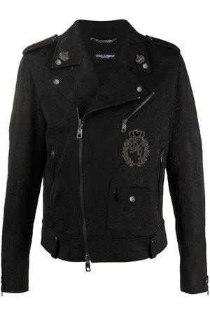 Dolce & Gabbana Man Skinnjackor - Blommig bikerjacka