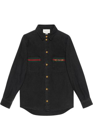 Gucci Web-detail denim shirt