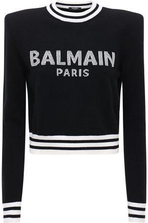 Balmain Cropped Wool Blend Knit Logo Sweater
