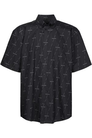 Balenciaga Allover Logo Print Poplin S/s Shirt