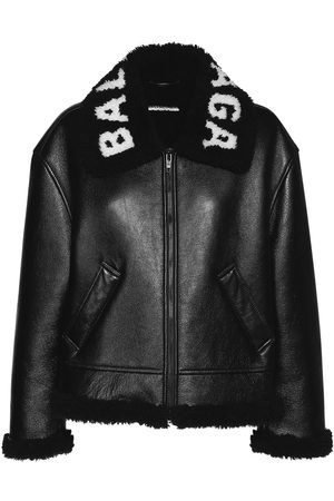 Balenciaga Logo Shiny Leather & Shearling Jacket