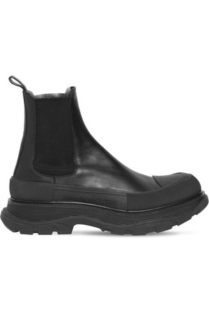Alexander McQueen 50mm Leather Chelsea Boots W/rubber Toe