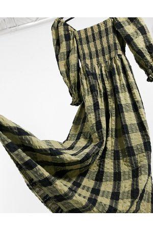 ASOS – Svart- och grönrutig maxiklänning