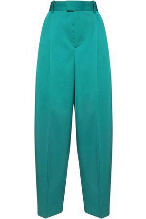 Bottega Veneta High Waist Wool Gabardine Wide Leg Pants