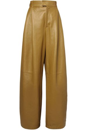 Bottega Veneta Kvinna Skinnbyxor - High Waist Leather Wide Leg Pants