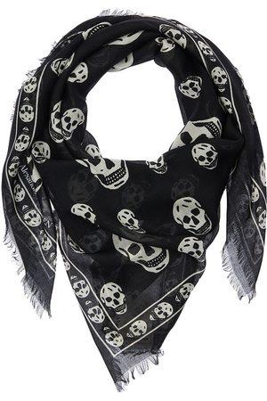 Alexander McQueen Classic Skull Printed Silk Blend Scarf