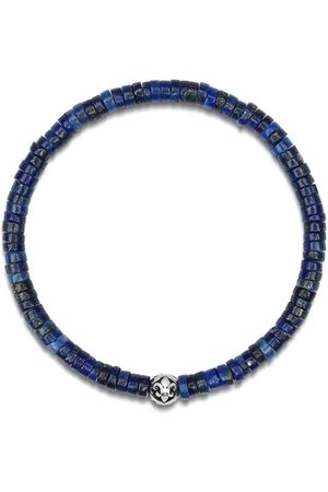 Nialaya Men's Wristband with Blue Lapis Heishi Beads and Silver