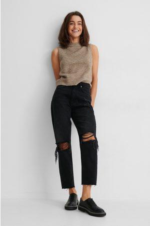 NA-KD Kvinna High waist - Ekologiska Jeans Med Hög Midja Och Slitningar På Knät