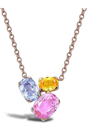 Pragnell 18kt rose gold Rainbow Fancy sapphire three-stone pendant necklace