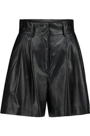 Dolce & Gabbana High-rise leather shorts