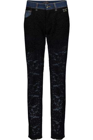 Dolce & Gabbana Lace-paneled high-rise slim jeans