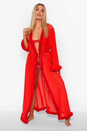 Boohoo Plus - Gemma Collins Kimono Med Fluffig Kant, Red