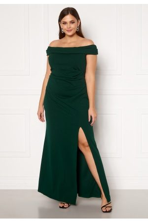 Goddiva Kvinna Maxiklänningar - Off Shoulder Maxi Curve Dress Green 46 (UK18)
