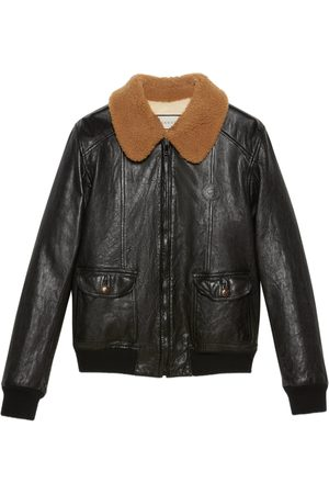 Gucci Man Skinnjackor - Leather jacket with shearling