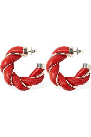 Bottega Veneta Kvinna Örhängen - Wrinkled Leather Hoop Earrings