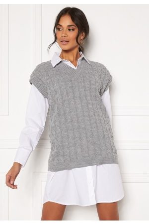 Ax Paris Cable Knit Tank Top Grey M/L
