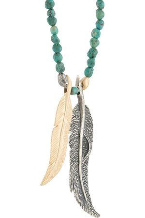 M. COHEN Pärlat halsband med fjäderhänge