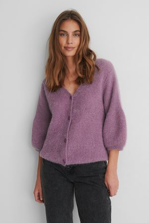 NA-KD Balloon Sleeve Short Knitted Cardigan