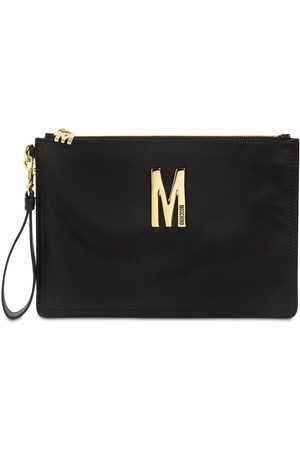 Moschino Leather Clutch W/metal Logo
