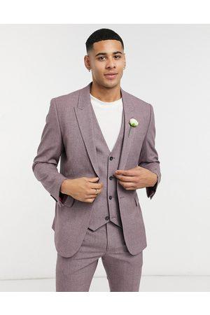 ASOS Wedding – Vinröd kostymjacka med crosshatch-mönster och extra smal passform