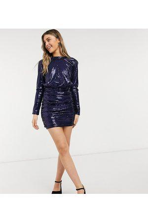 In The Style – Marinblå 2-i-1-miniklänning med paljetter och hög krage, endast hos ASOS
