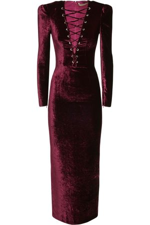 Alessandra Rich Viscose & Silk Velvet Lace-up Long Dress
