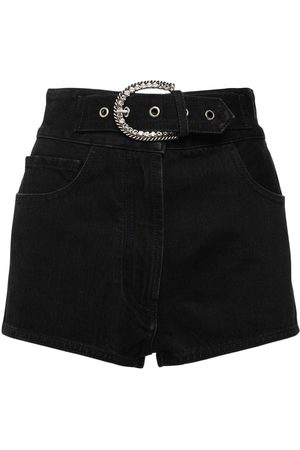 Alessandra Rich High Waist Cotton Denim Shorts