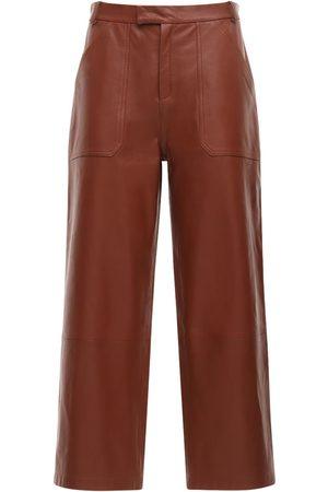 Zeynep Arcay Leather Wide Crop Pants