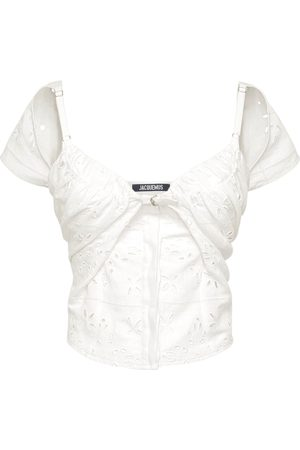 Jacquemus Draped Linen Blend Top W/ Straps