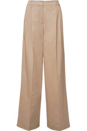 Agnona High Waist Stretch Cotton Pants
