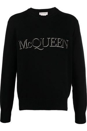 Alexander McQueen Stickad tröja med broderad logotyp