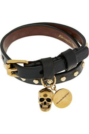 Alexander McQueen Man Armband - Double Wrap Studded Leather Bracelet