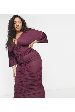 ASOS Kvinna Festklänningar - ASOS DESIGN Curve – Plommonlila midiklänning med rynkning och kimonoärmar