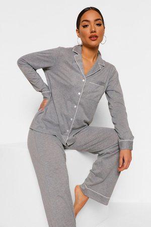 Boohoo Långärmad Pajamas I Jersey Med Knappar Och Långbyxor, Grey